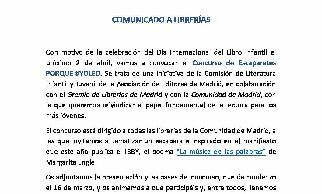 CIRCULAR Nº: 14/21: CONCURSO DE ESCAPARATES PORQUE #YOLEO