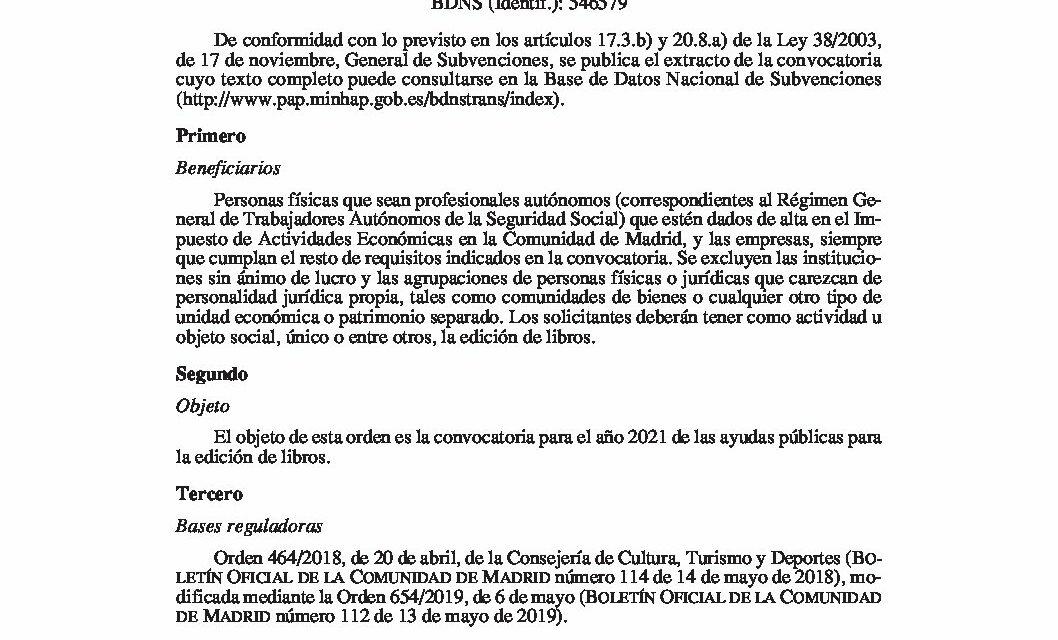 CIRCULAR Nº 4/21: CONVOCATORIA DE AYUDAS DE LA COMUNIDAD DE MADRID A LA EDICIÓN DE LIBROS 2021