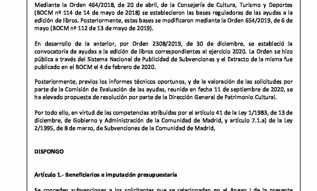 CIRCULAR Nº 57/20: CONCESIÓN DE AYUDAS A LA EDICIÓN DE LA COMUNIDAD DE MADRID 2020