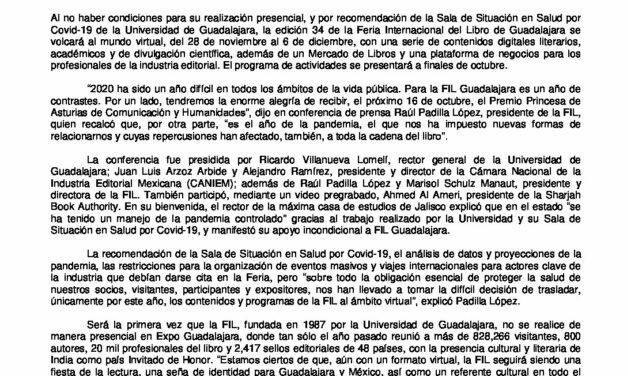 CIRCULAR Nº 52/20: FERIA INTERNACIONAL DEL LIBRO DE GUADALAJARA 2020 VIRTUAL