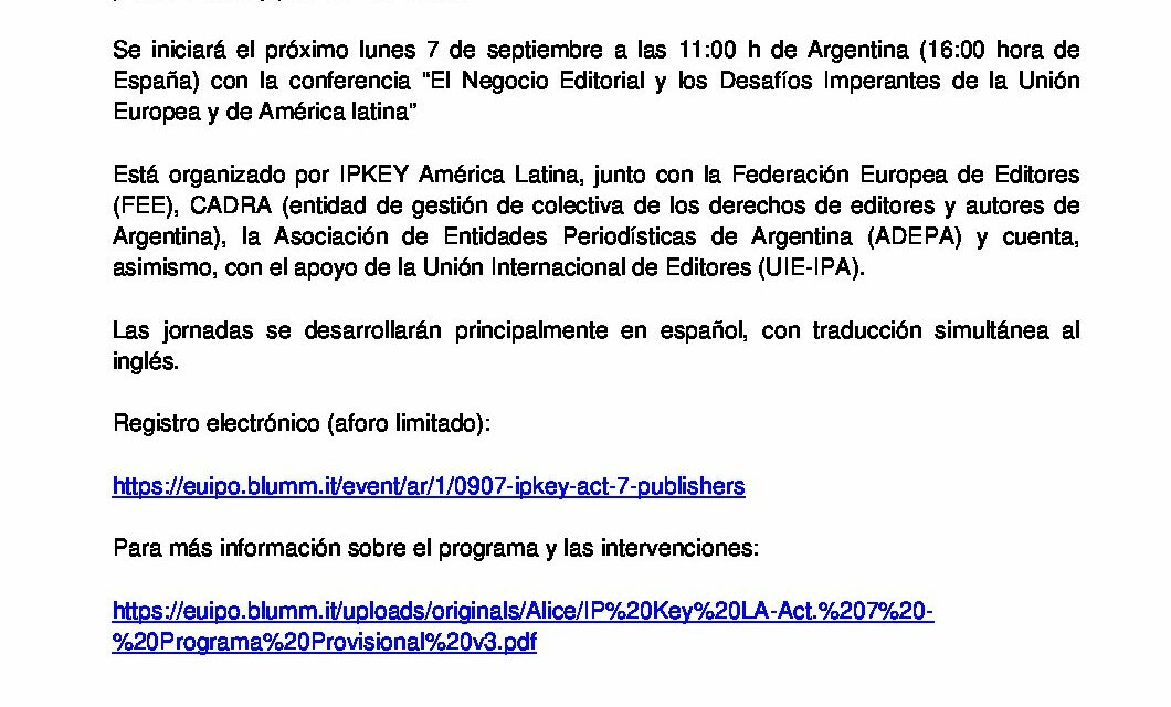 CIRCULAR Nº 45/20: CICLO DE CONFERENCIAS ONLINE