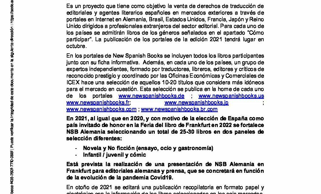 CIRCULAR Nº 1/21: CONVOCATORIA NEW SPANISH BOOKS 2021