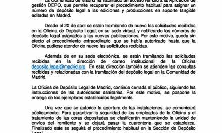 CIRCULAR Nº 28/20: RECUPERACIÓN PROCEMIENTO HABITUAL DEPÓSITO LEGAL