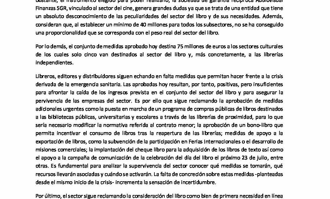 CIRCULAR Nº 25/20: MEDIDAS DE APOYO AL SECTOR CULTURAL