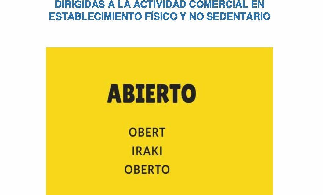 CIRCULAR Nº 22/20: CONDICIONES APERTURA AL PÚBLICO DE DETERMINADOS COMERCIOS Y SERVICIOS
