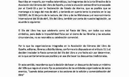 CIRCULAR Nº 15/20: CELEBRACIÓN COMERCIAL DEL DÍA DEL LIBRO