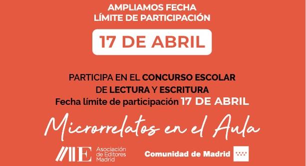 Ampliamos el plazo del Concurso Escolar de Lectura y Escritura hasta el 17 de abril