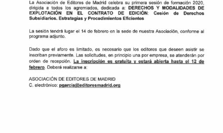 CIRCULAR Nº 4/20: DERECHOS Y MODALIDADES DE EXPLOTACIÓN EN EL CONTRATO DE EDICIÓN: Cesión de Derechos Subsidiarios. Estrategias y Procedimientos Eficientes