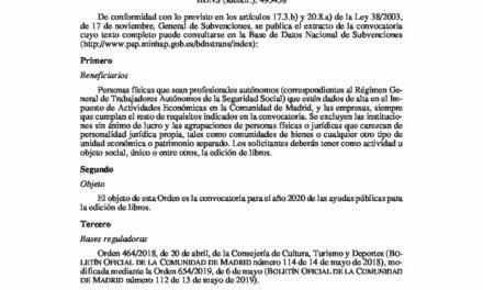 CIRCULAR Nº 3/20: CONVOCATORIA DE AYUDAS DE LA  COMUNIDAD DE MADRID  A LA EDICIÓN DE LIBROS 2020