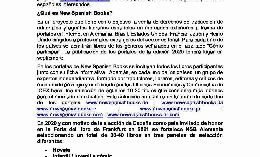 CIRCULAR Nº 46/19: CONVOCATORIA NEW SPANISH BOOKS 2020