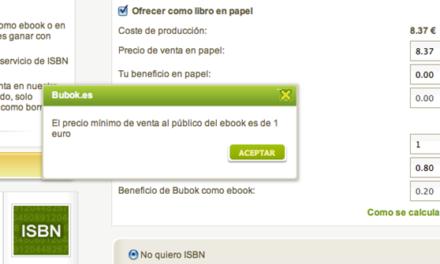 El precio mínimo de los ebooks será 1 €