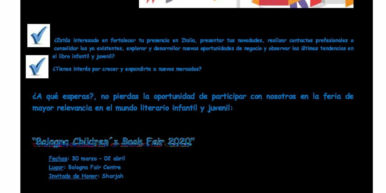 CIRCULAR Nº 41/19: FERIA INTERNACIONAL DEL LIBRO INFANTIL Y JUVENIL DE BOLONIA 2020