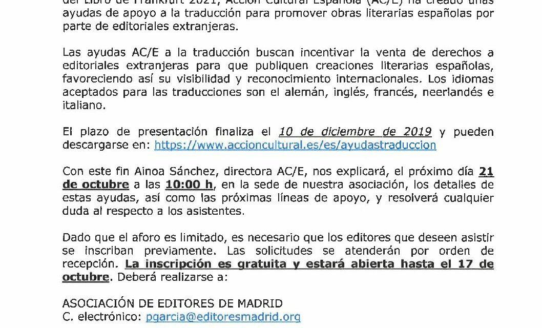 CIRCULAR Nº 40/19 CONVOCATORIA DE AYUDAS A LA TRADUCCIÓN DE ACCIÓN CULTURAL