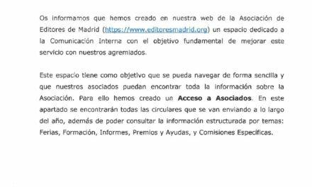 CIRCULAR Nº 37/19 NUEVA WEB DE LA ASOCIACIÓN DE EDITORES  DE MADRID