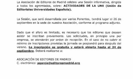 CIRCULAR Nº 36/19:  SESIÓN INFORMATIVA ACTIVIDADES UNE (Unión de Editoriales Universidades Española)