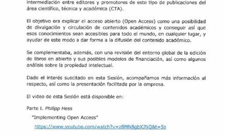 CIRCULAR Nº 30/19: LIBROS ACADÉMICOS DE ACCESO ABIERTO