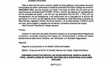 CIRCULAR Nº 27/19: CONVENIO COLECTIVO ESTATAL DE ARTES GRÁFICAS 2019-2020.