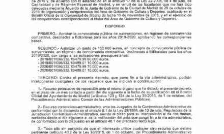 CIRCULAR Nº 22/19: AYUDAS DEL AYUNTAMIENTO DE MADRID PARA ASISTENCIA DE EDITORIALES MADRILEÑAS A FERIAS INTERNACIONALES