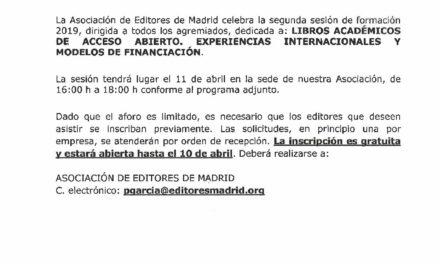 CIRCULAR Nº 18/19: LIBROS ACADÉMICOS DE ACCESO ABIERTO. EXPERIENCIAS INTERNACIONALES Y MODELOS DE FINANCIACIÓN