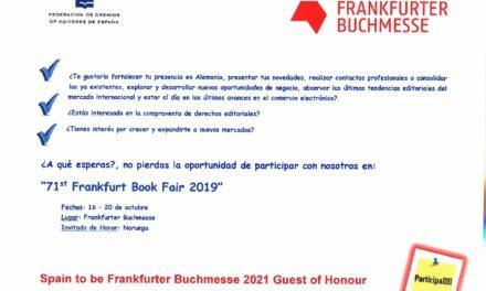 CIRCULAR Nº 8/19: FERIA INTERNACIONAL DEL LIBRO DE FRANKFURT 2019