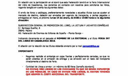 CIRCULAR Nº 1/19: FERIA INTERNACIONAL DEL LIBRO DE CASABLANCA. Del 7 al 17 de febrero
