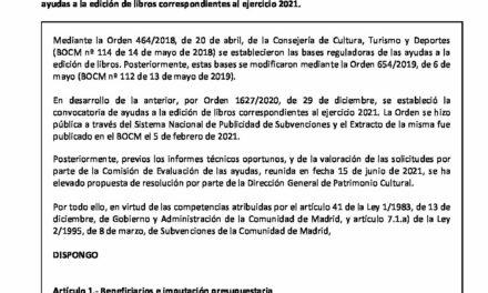 CIRCULAR Nº 40/21: CONCESIÓN DE AYUDAS A LA EDICIÓN DE LIBROS DE LA COMUNIDAD DE MADRID 2021
