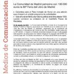 La Comunidad de Madrid patrocina con 100.000 euros la 80ª Feria del Libro de Madrid